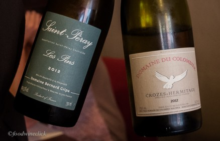 Entreé wines: St. Peray (Blanc) for me, Crozes-Hermitage Blanc for Julie