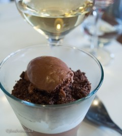 Valrhona chocolate dessert with chocolate ice cream - wow!