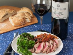 Tinhorn Creek Merlot with rare tuna