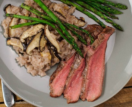 Flank steak and asparagus make a full meal, but risotto is the star