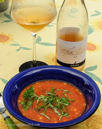 1st course at dinner let us finish up the rosato with gazpacho.