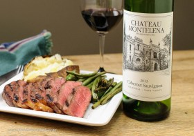 Chateau Montelena Napa Valley Cabernet Sauvignon paired with ribeye steak