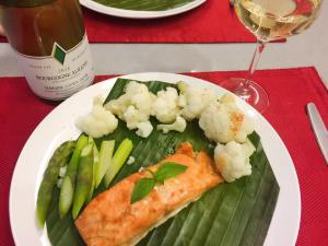 Miso Salmon and boiled asparagus and cauliflower
