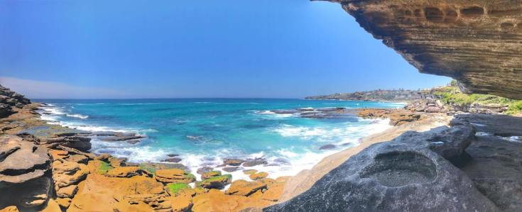 Shaded cave in bondi to coogee walk