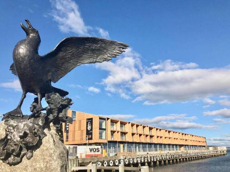 black bird statue at hobart waterfront