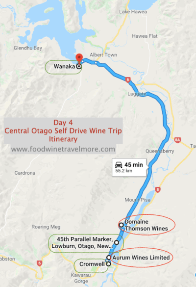 Day 4 - Central Otago Wine Trip itinerary drive to WAnaka