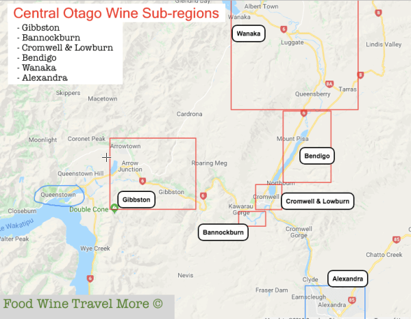 CEntral Otago wine subregion map foodwinetravelmore