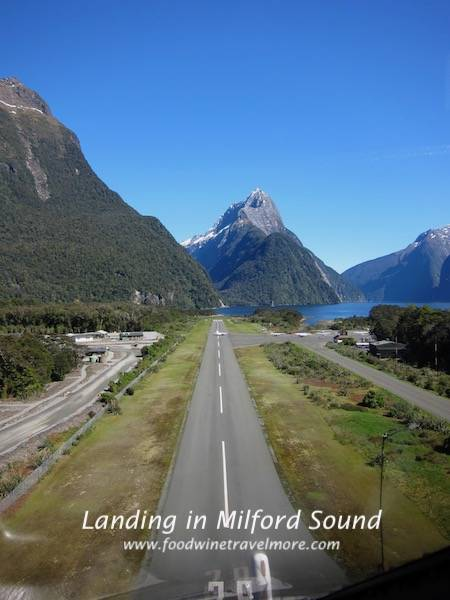 landing in milford sound new zealand