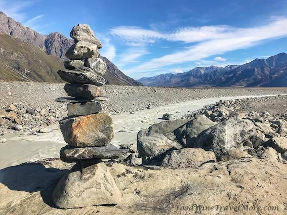 Tasman Glacier Hike Mount Cook Stacking Stones Japanese New Zealand