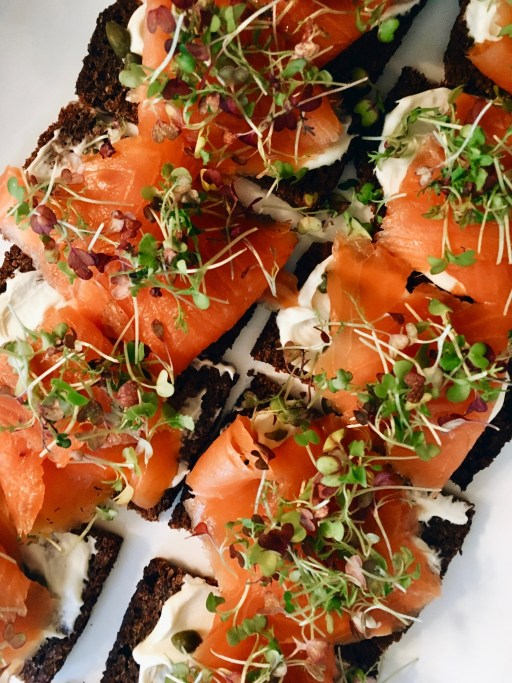 Smoked salmon with microgreens and creme fraiche on toast | planning a baby shower on foodwithaview.com