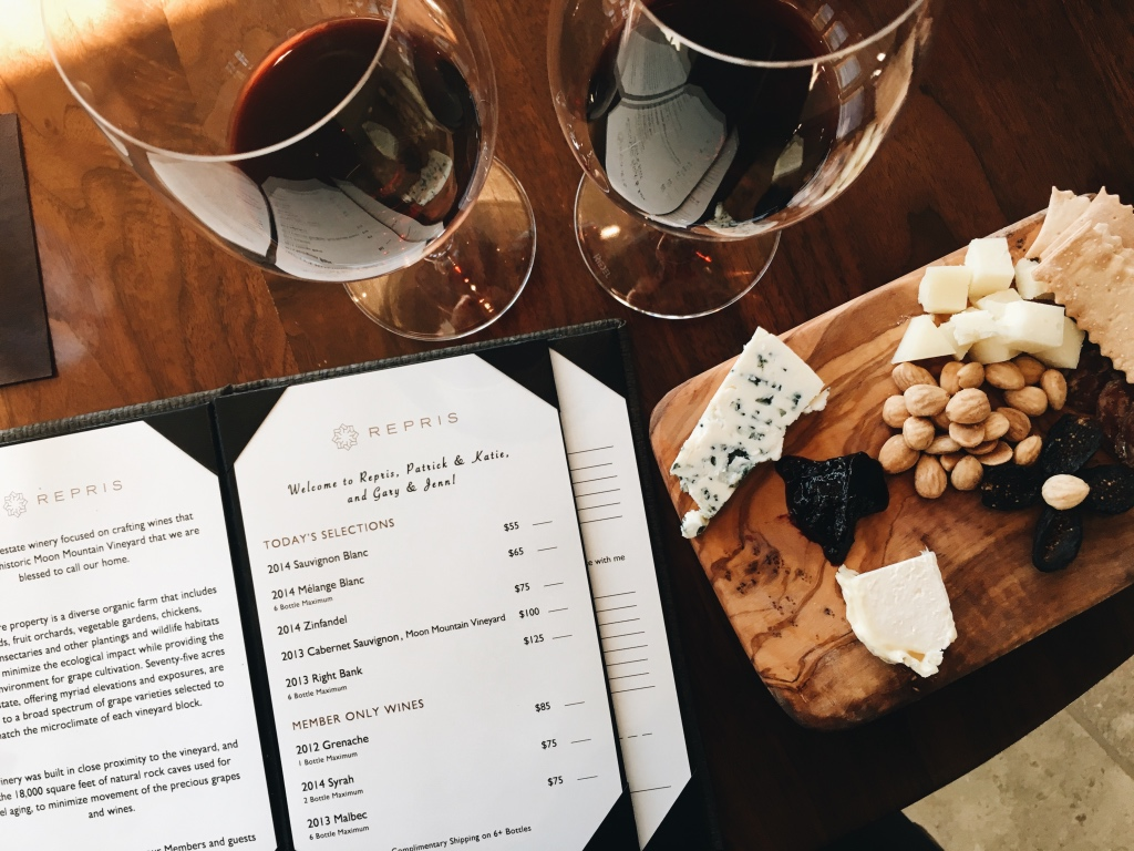 Tasting wine and cheese at Repris vineyard in napa valley | adventures in wine country on foodwithaview.com