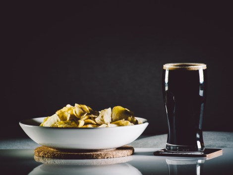 Glass of stout and homemade potato chips | Trap Rock Restaurant and Brewery | review on foodwithaview.com