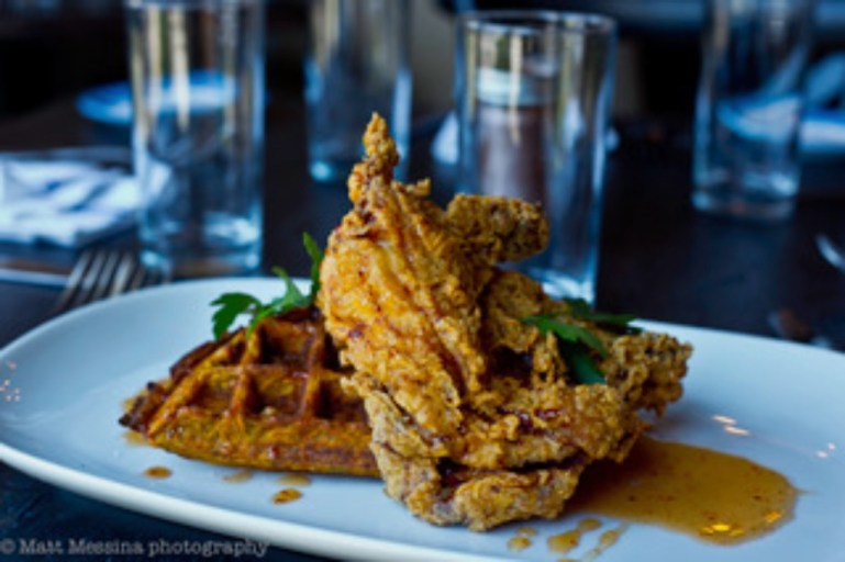 fried chicken and waffles   south and pine   photo by matt messina   nj outdoor dining on foodwithaview.com