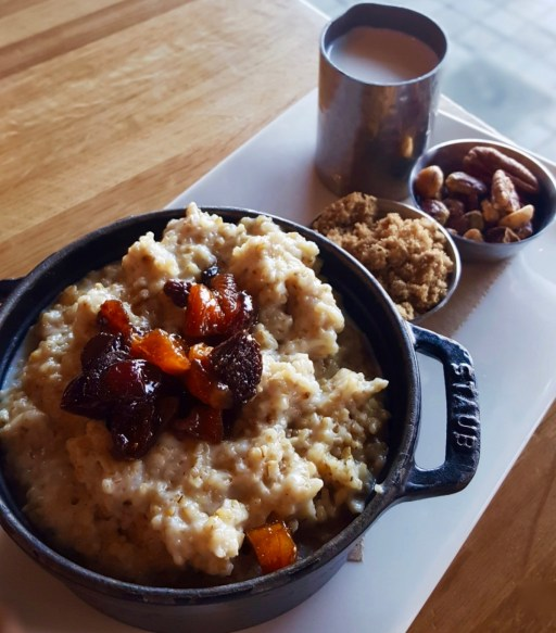 Steel cut oatmeal with fruits nuts and brown sugar | Urban Farmer Restaurant Philadelphia | foodwithaview.com