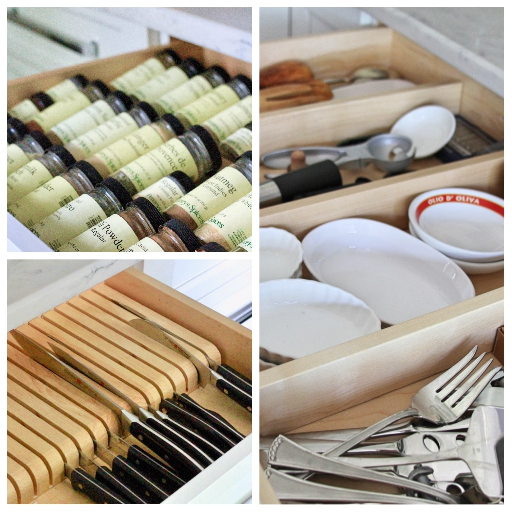 Organized kitchen drawers with dividers | knives and spices and supplies | kitchen renovation | a kitchen love story by foodwithaview.com