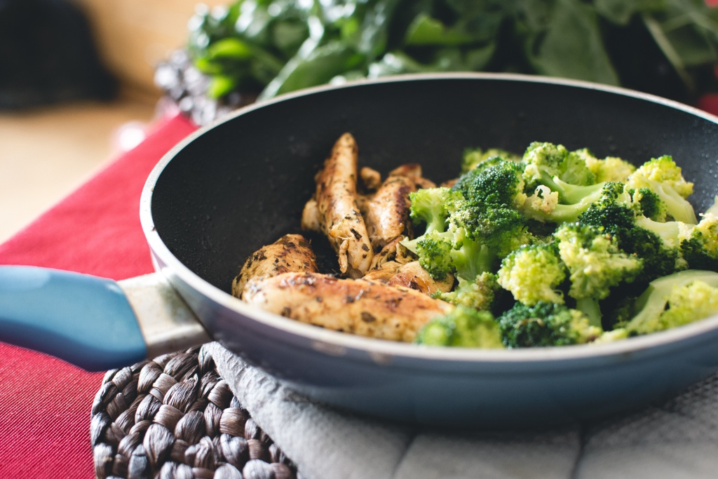 Simple dinner of grilled chicken and broccoli in a pan | photo by foodiesfeed | Dinner A Love Story cookbook review | foodwithaview.com