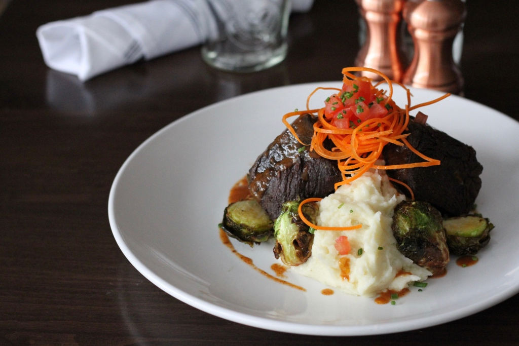 Beef short ribs with brussels sprouts and mashed potatoes | The Hills Tavern in Millburn NJ | foodwithaview.com