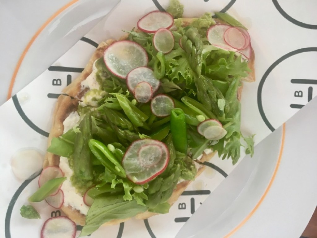 Spring vegetables and radishes on crostini | Spring seasonal dining | Jockey Hollow Morristown NJ | foodwithaview.com
