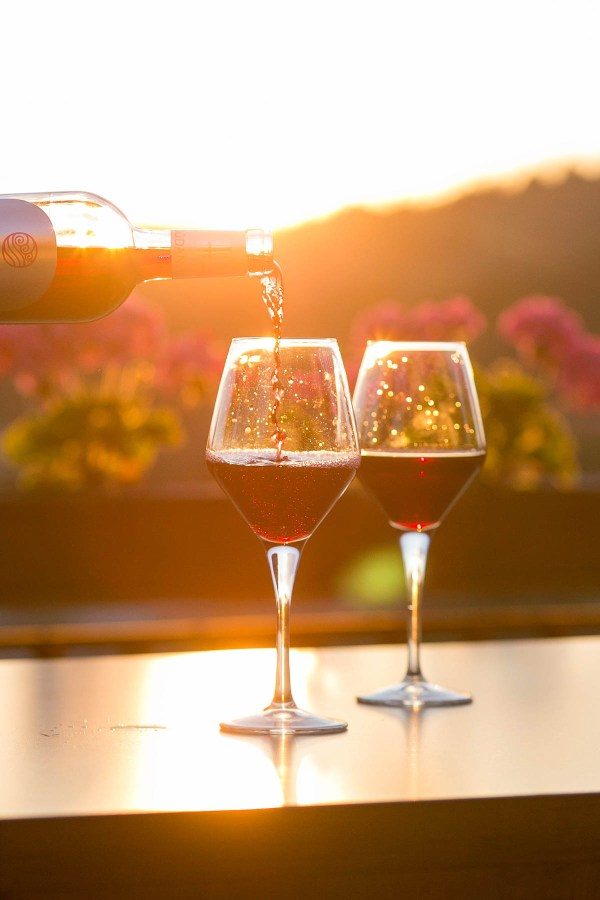 Pouring two glasses of red wine on an autumn day   Thanksgiving Turkey and Wine Pairings   foodwithaview.com