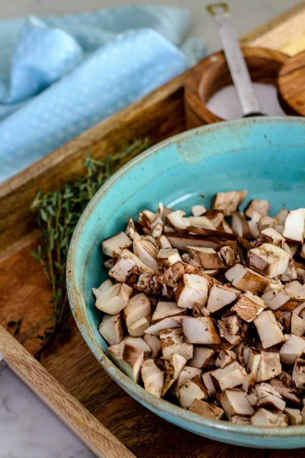 Chopped mushrooms prepared for mushroom stock | Cream of Wild Mushroom Soup | Keto-Friendly, Gluten-Free, Low-Carb | Recipe on foodwithaview.com