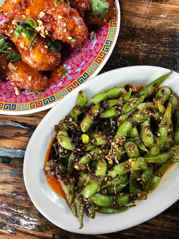 Chili Soy Edamame and Kung Pao Chicken Wings | Talde Jersey City | NJ restaurant reviews by foodwithaview.com