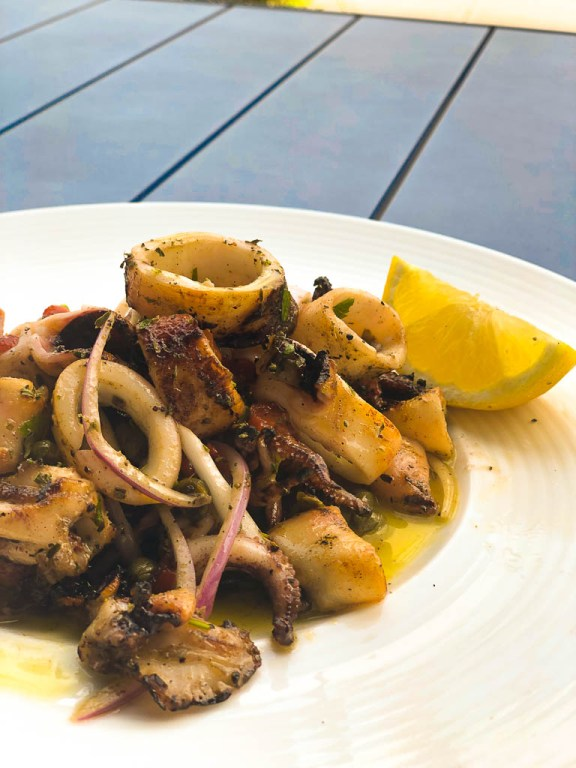 Grilled calamari appetizer | EVOO + Lemon restaurant review | foodwithaview.com