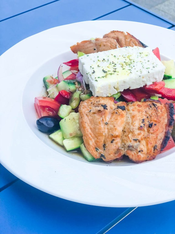 Greek salad with grilled salmon and feta cheese | EVOO + Lemon restaurant review | foodwithaview.com