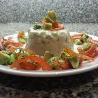 Avocado & Cucumber Mousse with Cherry Tomato & White Truffle Oil Salsa