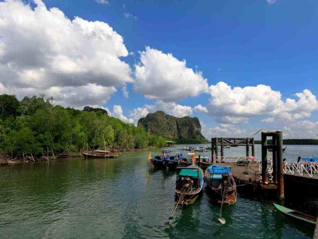 The view from the Hat Yao Pier marina in Trang, Thailand.