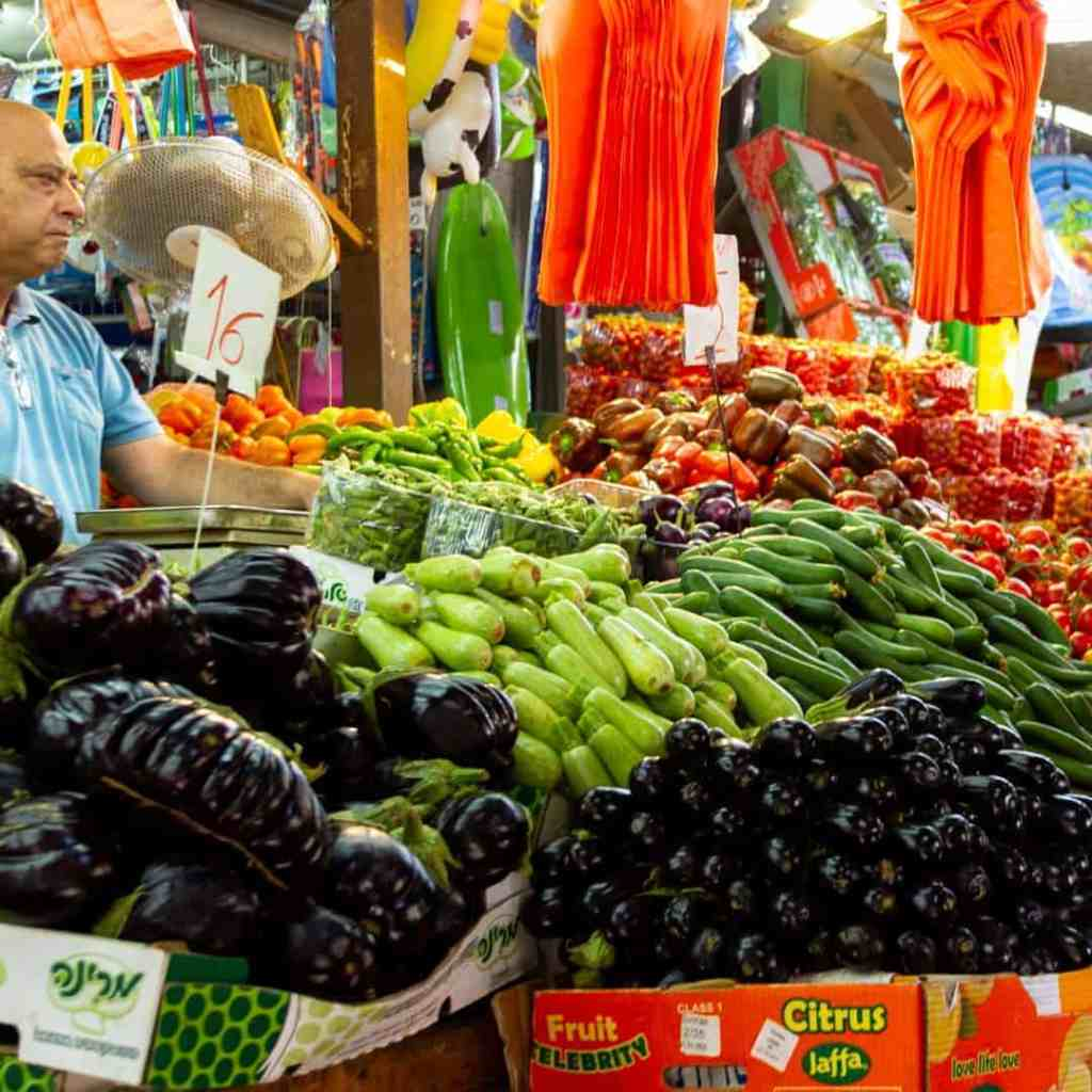 Produce stand at the shuk