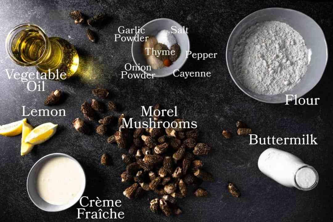 ingredients to make fried morels mushrooms with a Lemon Crema