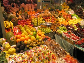 A fruit market in Barcelona. A source of five-a-day.