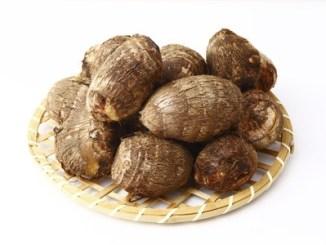 A plate of taro tubers.
