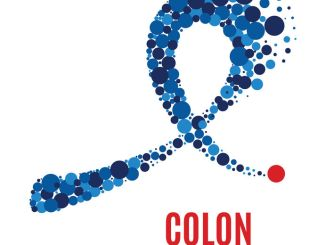 Colon cancer awareness poster. Blue ribbon made of dots on white background.
