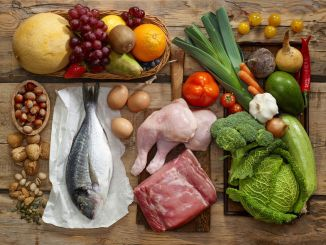 Various paleo diet products on wooden table, top view. All types of food are shown.
