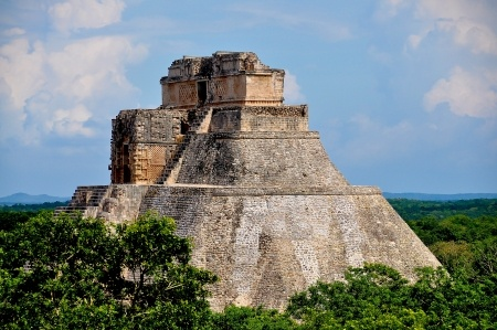 Photo of a great Aztec pyramid. A great deal of cocoa and chocolate was drunk at such temple centres.