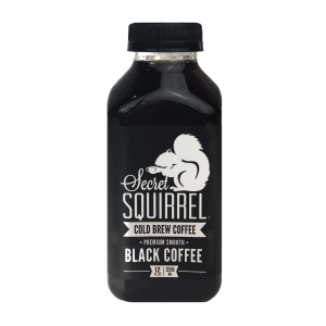 A full frontal shot of a bottle of Black Coffee cold brew.