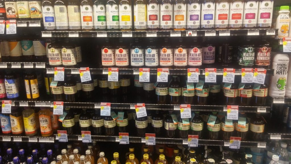 Kombucha products on the shelf - a full view shot.