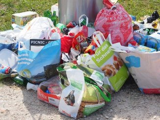 Food waste and garbage in bags