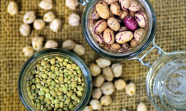 Beans and pulses in glass jars