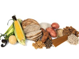 Food sources of complex carbohydrates, isolated on white background. A key component of the F-factor diet plan. Dietary fibre.