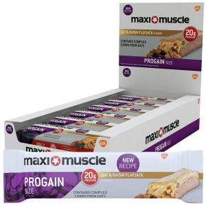 Maximuscle Progain High Protein and Creatine Flapjack, Oat and Raisin, 90 g, Pack of 12