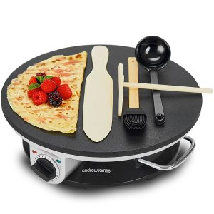 Andrew James Pancake Maker Crepe Machine | Electric Non-Stick Cooker with Accessories & Adjustable Temperature Control | 1200W