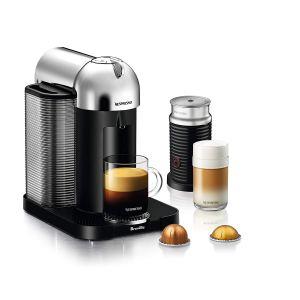 Nespresso Vertuo Coffee and Espresso Machine Bundle with Aeroccino Milk Frother by Breville, Chrome