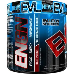 Evlution Nutrition ENGN Pre-Workout, Pikatropin-Free, Fruit Punch, 30 Servings, Intense Pre-Workout Powder for Increased Energy, Power, and Focus