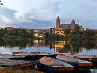 Salamanca at twilight from across the river Douro.