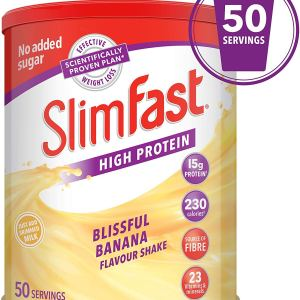 SlimFast High Protein Meal Replacement Powder Shake, Blissful Banana Flavour, 50 Servings