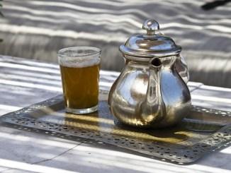 Moroccan mint tea, steeping green tea and spearmint