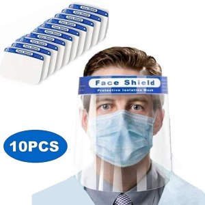 10Pcs Safety Face Shield All-Round Protection Visor Cap with Protective Clear Film Elastic Band and Comfort Sponge to windproof dustproof Anti-Splash Facial.