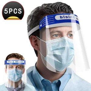 5PCS Safety Face Shieldes, Protective Film Protect Eyes and Mouth,Plastic Adjustable Transparent Face Shield to Prevent Saliva,Suitable for Men and Women